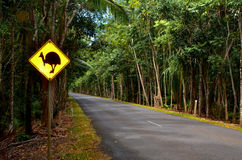 Cassowary Crossing. A sign warns drivers to watch for Cassowaries - large flightless birds indigenous to Australia Stock Image