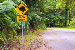 Cassowary road warning sign Royalty Free Stock Image