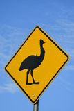 Cassowary warning sign in North Queensland, Australia. A cassowary warning sign in North Queensland, Australia Royalty Free Stock Photos