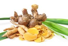 Cassumunar ginger, a basic ingredient for Thai massage oil. Cassumunar ginger: Zingiber cassumunar is a species of plant in the ginger family. It is called plai stock image