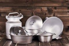 Cast aluminium pots Royalty Free Stock Photo