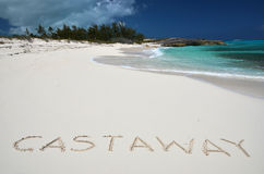 Cast away writing on a desrt beach Stock Photography