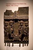 Cast brass plaques from Benin City Nigeria, British Museum. A brass sculpture displayed in British Museum, London stock photography