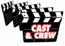 Cast and Crew Film Credits Movie Clapper Boards. 3d Illustration Stock Photography