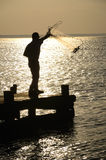 Cast Fishing. Man fishing with a cast net silhouetted against the evening light Royalty Free Stock Image