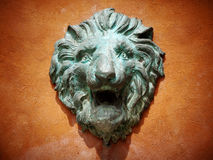Cast green metal lion head Royalty Free Stock Photo