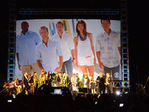 Cast of Hawaii 5-0 Television show season 5 stands on stage Stock Photography