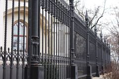 Cast iron black fence of palace Stock Photo