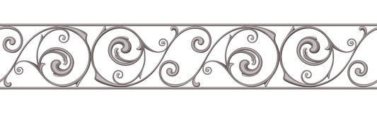 Cast iron border. Vector horizontal seamless background. Stock Images