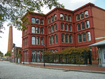 Cast Iron Building. Classical cast iron building in Baltimore and shot tower where gunshots were produced Stock Images