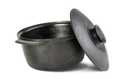 Cast iron cauldron Stock Images