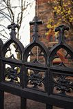 Cast iron church gate. With crosses Stock Image