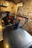 Cast iron coal fired boiler of an industrial steam engine used a. T a tin mine in Cornwall Stock Images