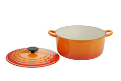 Cast iron cooking pot. Cast iron pot with lid - clipping path included in largest size file Royalty Free Stock Image