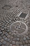 Cast iron drain cover Royalty Free Stock Photography
