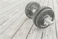 Cast iron dumbbell on deck. Iron dumbbell on a grunge wooden deck - fitness concept, digital charcoal painting effect Stock Images