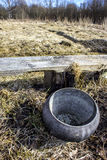 Cast-iron. In a field on dry grass Stock Photos