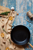 Cast iron frying pan skillet empty form on vintage table Royalty Free Stock Photos