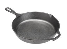 Cast iron frying pans Isolated on white Royalty Free Stock Photos