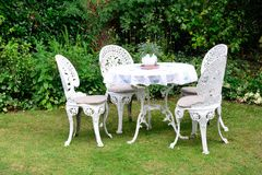 cast iron garden chairs Stock Photos