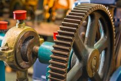 Cast iron gear from close Stock Photo
