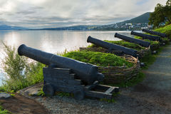 Cast iron guns at the location of the third battery Maksutova in the city of Petropavlovsk-Kamchatsky. Royalty Free Stock Images