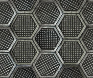 Cast iron hexagonal factory floor texture. Royalty Free Stock Images