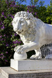Cast-iron lion in park. In sunny day Stock Image