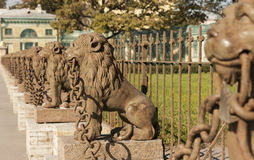29 cast iron lions near the manor Kushelev-Bezborodko at Sverdlovsk Neva River, St. Petersburg Stock Photos