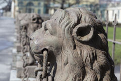29 cast iron lions near the manor Kushelev-Bezborodko at Sverdlovsk Neva River, St. Petersburg Royalty Free Stock Photos