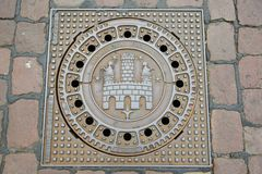 Cast-iron manhole covers Royalty Free Stock Images