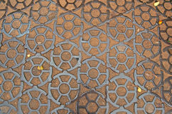 Cast iron pavement on Ancor square in Kronstadt, Russia Stock Image