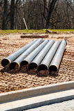 Cast Iron Pipes on Site Royalty Free Stock Photography