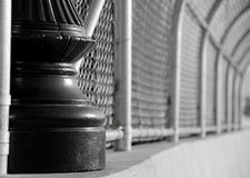 Cast iron pole and alloy mesh on a bridge in Tacoma Stock Photos