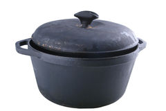 Cast iron pot. Black cast iron pot  isolated on white Stock Photography