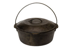 Cast Iron Pot Isolated. On white background with clipping path Royalty Free Stock Image
