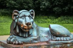 Cast-iron sculpture of a lion Royalty Free Stock Image