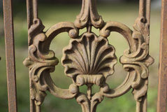 Cast Iron Shell Detail. Rusty Shell detail in a cast iron fence Royalty Free Stock Photography
