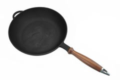 Cast Iron Skillet or Frying Pan White Isolated, Top View Stock Image