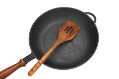 Cast Iron Skilletor Frying Pan White Isolated, Top View Stock Photo