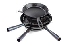 Cast iron skillets Stock Photo