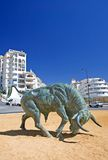 Cast Iron Spanish Bull in center of Roundabout Stock Images