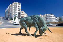 Cast Iron Spanish Bull in center of Roundabout Royalty Free Stock Photo