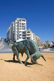 Cast Iron Spanish Bull in center of Roundabout Royalty Free Stock Image