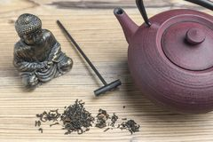 Cast iron teapot and black tea. Top view. Buda. Cast iron teapot and black tea. Top view. Tea making facilities. Buda royalty free stock photo