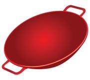 Cast Iron Wok. Classic cast iron wok red. Vector illustration Stock Photo