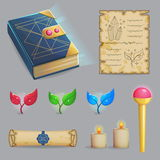 Cast a magic spell set of icons Royalty Free Stock Image