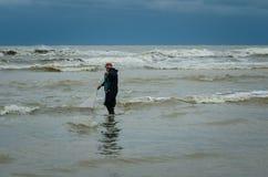 Cast net fishing on Black Sea Stock Photography