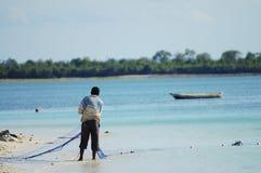 Cast Net Fishing - Zanzibar - Tanzania. Cast Net Fishing in Zanzibar - Tanzania stock photos