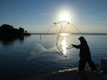 Cast Netting Fisherman stock photography